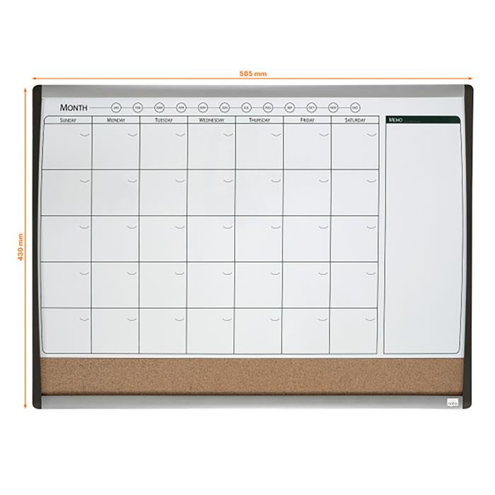 Combo REXEL organizador mensual magnético + tablero de corcho 585 x 340 mm (1903813)
