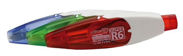 Corrector súper R6 OFFICE BOX retráctil 6 m x 4,2 mm. Colores surtidos (D6793)