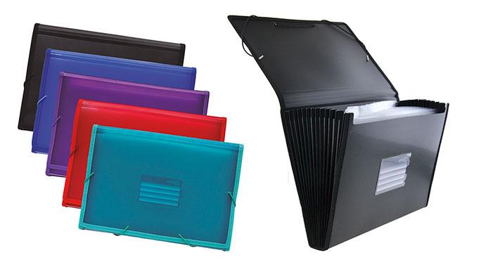 Clasificador OFFICE BOX 12 divisiones. Cierre con goma. Colores surtidos (41115)