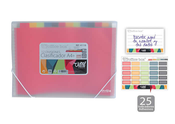 Clasificador OFFICE BOX con gomas 12 divisioes. Tamaño A4+. Vital colors (41118)