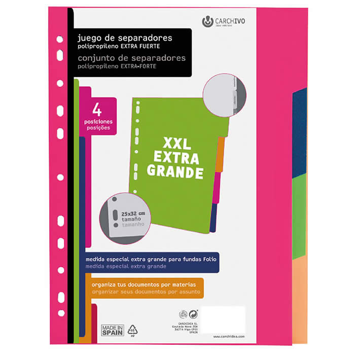 Separadores CARCHIVO PP tamaño folio extra fuerte 6 posiciones XXL (49051699)