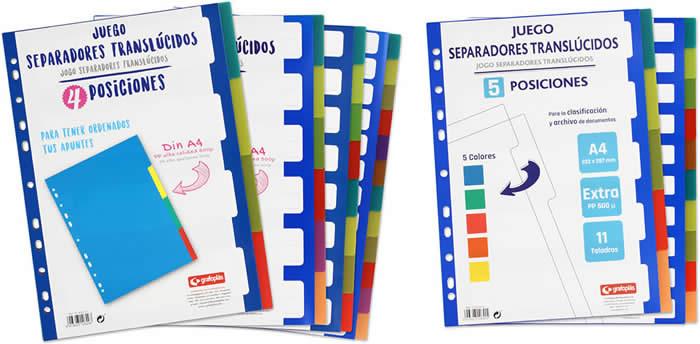 SEPARADORES EXTRA RIGIDOS GRAFOPLAS 12 POSICIONES A4 (41260600)