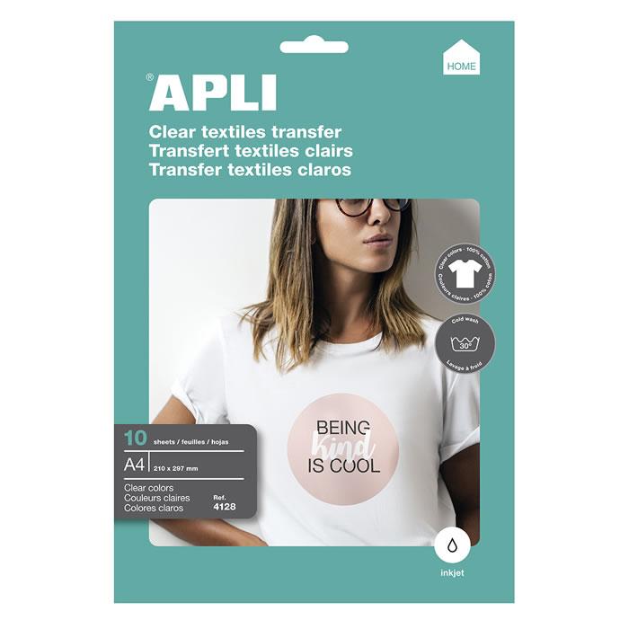 PAPEL TRANSFER APLI CAMISETAS BLANCAS 10 HOJAS A4 (04128)