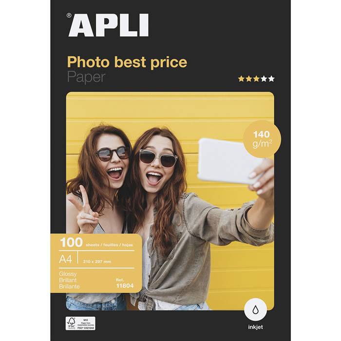 PAPEL PHOTO APLI BEST PRICE 140 GRS. 100 HOJAS A4 (11804)