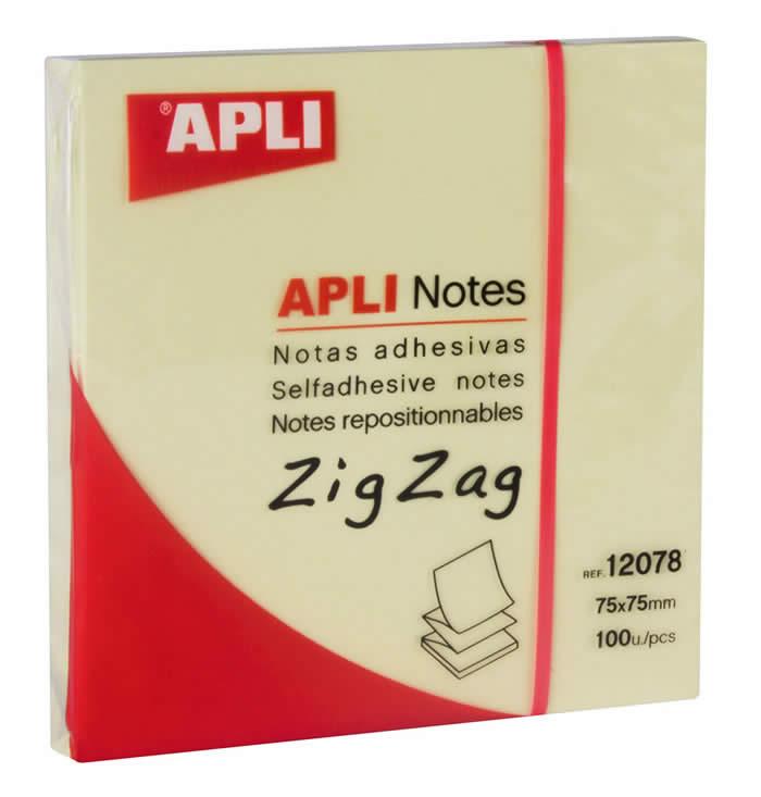 NOTAS ADHESIVAS APLI 75 X 75 MM. ZIG ZAG AMARILLO (12078)
