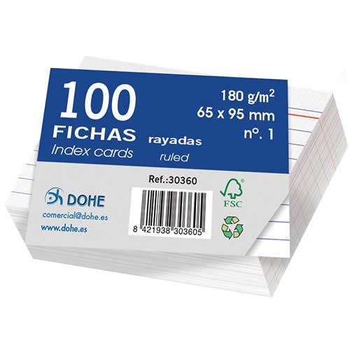 FICHAS DOHE CARTULINA RAYADO HORIZONTAL 65X95 MM. (30360)