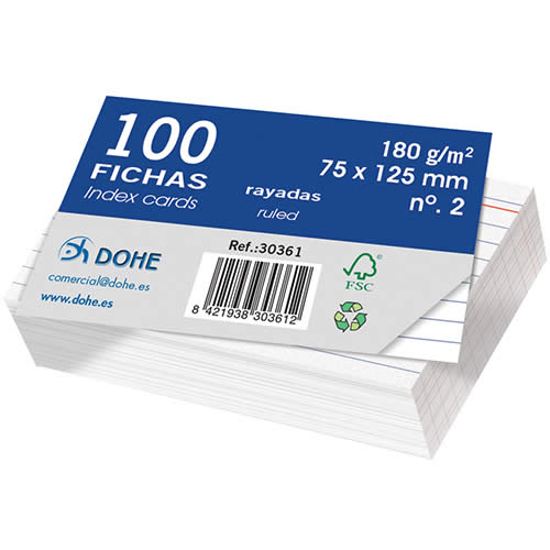 FICHAS DOHE CARTULINA RAYADO HORIZONTAL 75X125 MM. (30361)