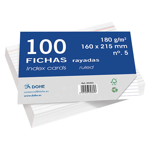 FICHAS DOHE CARTULINA RAYADO HORIZONTAL 160X215 MM. (30364)