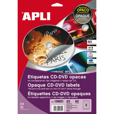 ETIQUETAS APLI MULTIMEDIA CD/DVD 114 DTRO. PERMANENTE OPACO (02899)