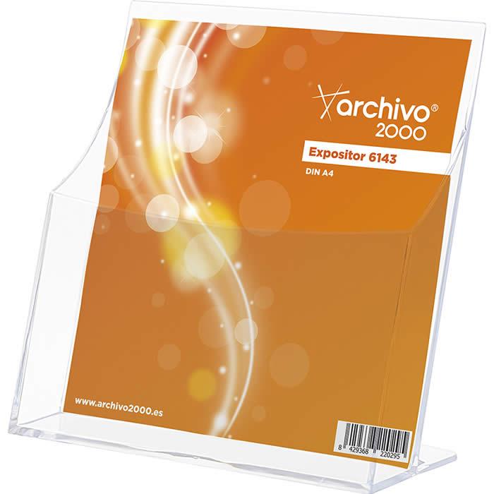 Expositor de ARCHIVO 2000. Tamaño A5 vertical  120 x 220 x 230 mm. Color transparente (01A6143CSTP)