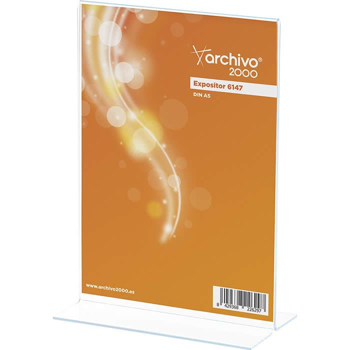 Expositor de ARCHIVO 2000 con forma de T. Tamaño A5  80 x 150 x 215 mm. Color transparente (01CDE47901CSTP)