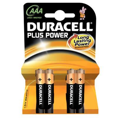 PILAS DURACELL PLUS POWER AAA 4 PILAS LR3 (942796)