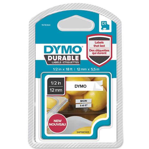 CINTA DYMO D1 DURABLE 12 MMX5,5M. NEGRO/BLANCO (1978364)