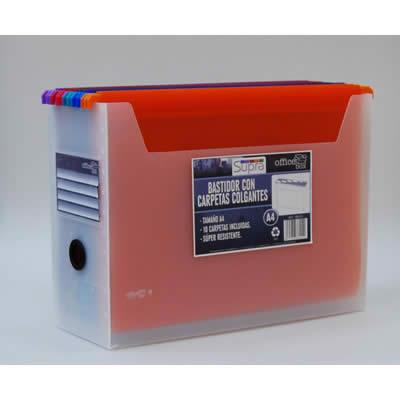 Bastidor OFFICE BOX supra tamaño A4. Contiene 10 carpetas colgantes. Colores surtidos. (38115)