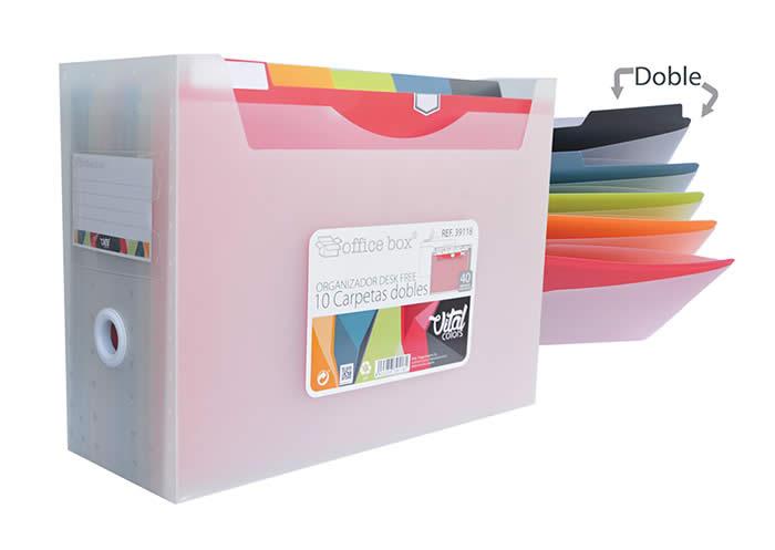 Organizador OFFICE BOX 10 carpetas dobles desk free vital colors (39118)