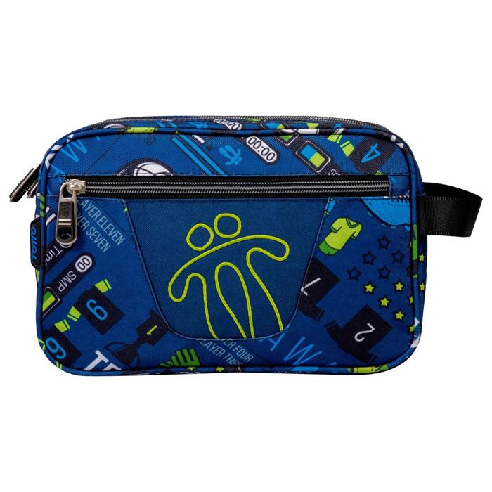 Estuche escolar dos compartimentos color azul soccer - Plastilina