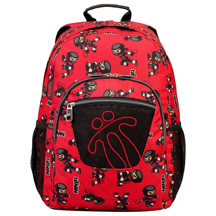Mochila escolar adaptable a carro estampado ninja - Acuareles